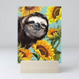 Sloth with Sunflowers Mini Art Print