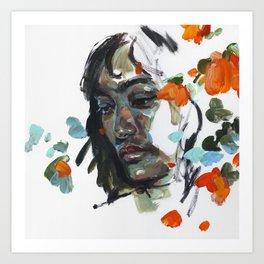 portrait and flowers - study 04 Art Print