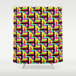 Rainbow Lattice Pattern Abstraction Shower Curtain