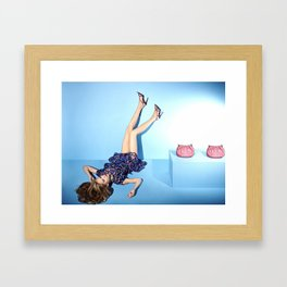 Blue set with pink purses and dress Framed Art Print