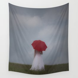 Red Parasol Wall Tapestry