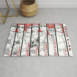 BTS - red, black & white Rug