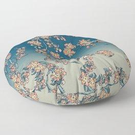 Bullfinch and Shiba Inu Cherry Floor Pillow