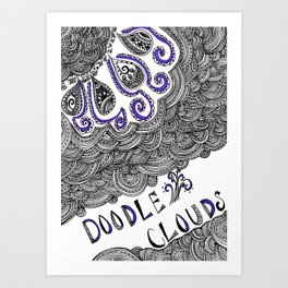 Doodle Clouds Art Print