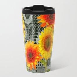 GREY GRUBBY SHABBY CHIC STYLE SUNFLOWERS ART Travel Mug