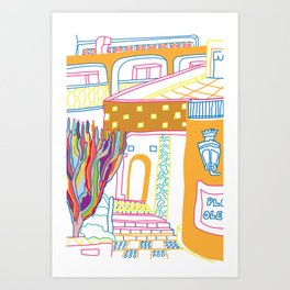 The Terrace And Place Of Olé - Colorful Drawing Art Print