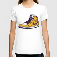 lakers T-shirts featuring Jordan 1 mid (LA Lakers) by Pancho the Macho