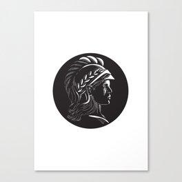Minerva Head Side Profile Oval Woodcut Canvas Print