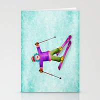 tina crespo Stationery Cards featuring Tina Skiing by Tina