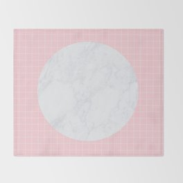 Pink, Grid & Marble Moon Throw Blanket
