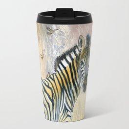 Zebra in Rainbow Savanna Travel Mug