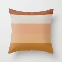 Soothing Earth Tone Stripes Minimalist Pattern in Rust, Terracotta, Millennial Pink, and Apricot Throw Pillow