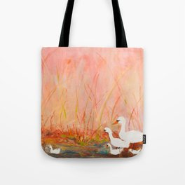 Gooses day out on the pond Tote Bag