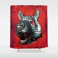 cyberpunk Shower Curtains featuring LVPVS (Background option) by Obvious Warrior