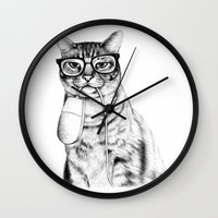 face Wall Clocks featuring Mac Cat by florever
