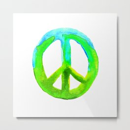 Watercolor Tie Dye Peace Sign Turquoise Lime on White Metal Print
