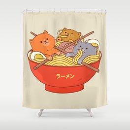 Ramen cats Shower Curtain