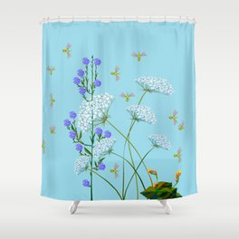 Kentucky Wildflowers and Pretty Bugs Shower Curtain