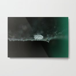 feather on spider web Metal Print