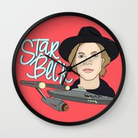 cassia beck Wall Clocks featuring Star Beck by Chelsea Herrick