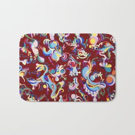 Red Abstract Tapestry Bath Mat