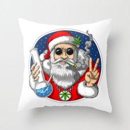 Santa Smoking Weed Throw Pillow