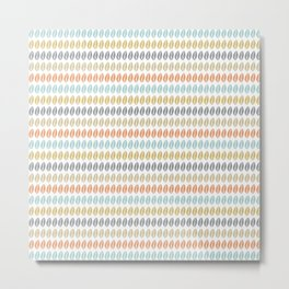 Boho Leaf Pattern in Muted Colored Stripes Metal Print