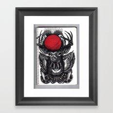DEER & BALL OF RED YARN // BIS EXIT// Framed Art Print
