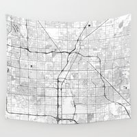 las vegas Wall Tapestries featuring Las Vegas Map Gray by City Art Posters