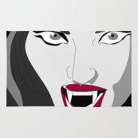 vampire Area & Throw Rugs featuring Vampire by Céline Solmini