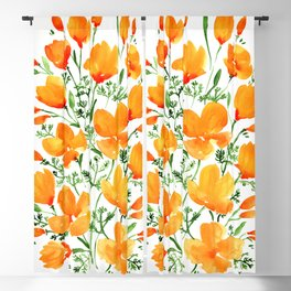 Watercolor California poppies Blackout Curtain