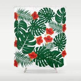 Tropical Leaves Hibiscus Flowers Shower Curtain