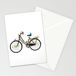 Old bicycle with birds Stationery Cards
