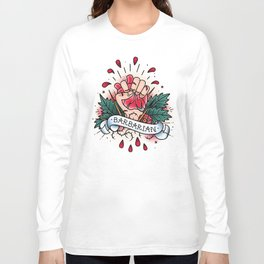Barbarian - Vintage D&D Tattoo Long Sleeve T-shirt