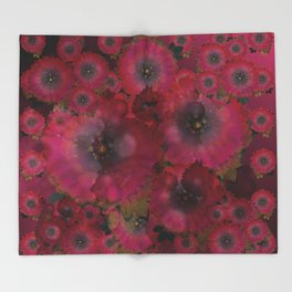 """Manila deep rose flowers"" Throw Blanket"