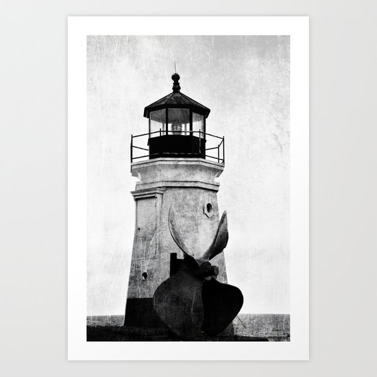 B&W Lighthouse Art Print
