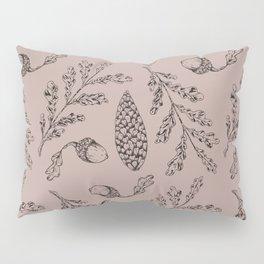 Hand painted blush pink black leaves pine corn Pillow Sham