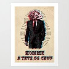 l'homme à la tête de chou Art Print