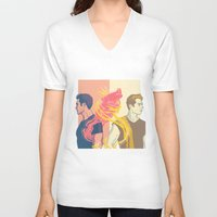 stiles V-neck T-shirts featuring derek and stiles by steammmpunk
