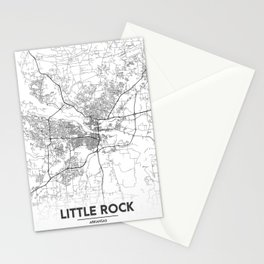 Minimal City Maps - Map Of Little Rock, Arkansas, United States Stationery Cards