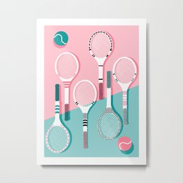 Got Served - tennis country club sports athlete retro throwback memphis 1980s style neon palm spring Metal Print