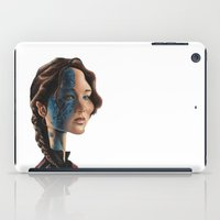 jennifer lawrence iPad Cases featuring Jennifer Lawrence as Katniss Everdeen by Owen Ballesteros