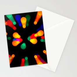 Bokeh Christmas Lights With Zoomed Light Trails Stationery Cards