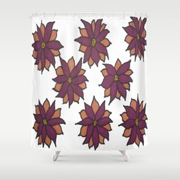 Holiday Two-Toned Flowers Shower Curtain