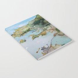 SF, San Francisco, Oakland, Bay Area, California Watercolor Map Art Notebook