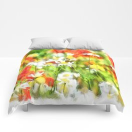 The Colors Of Spring On A Sunny Day Watercolor Comforters