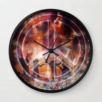 woodstock Wall Clocks featuring Woodstock Peace by ZiggyChristenson