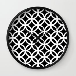 Ring Overlap - white on black Wall Clock