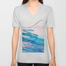 Abstract hand painted pink blue watercolor brushstrokes Unisex V-Neck