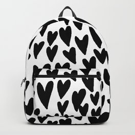 hearts love valentines day minimal black and white pattern gifts Backpack